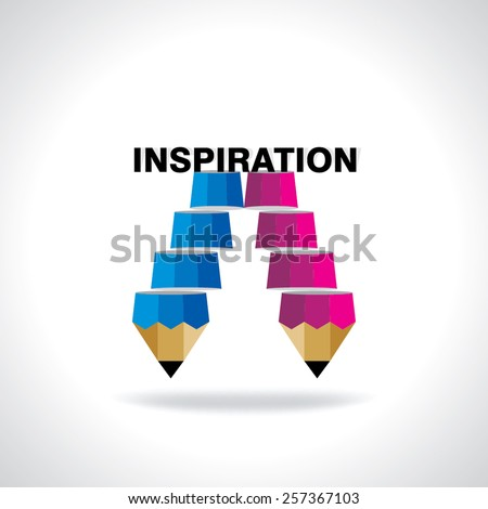 creative stair pencil top of the inspiration idea concept  - stock vector