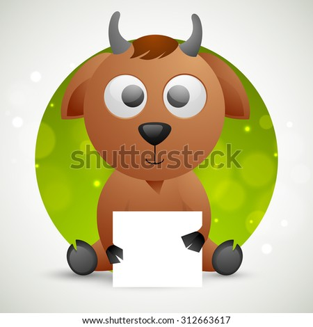 Creative sticky design with illustration of cute goat holding blank paper for Islamic Festival of Sacrifice, Eid-Al-Adha celebration.  - stock vector