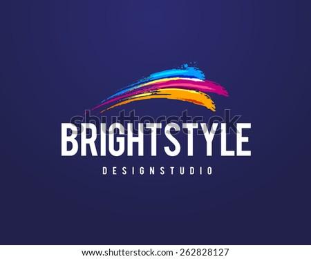 Creative studio logo design template. Vector art. - stock vector