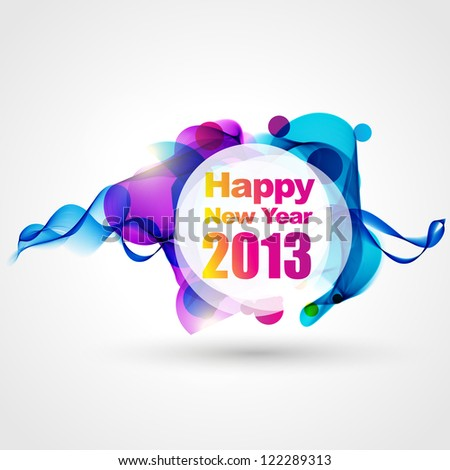 creative style happy new year design - stock vector