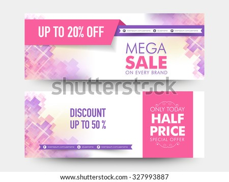 Creative stylish mega sale website header or banner set with 20% and 50% discount offer. - stock vector