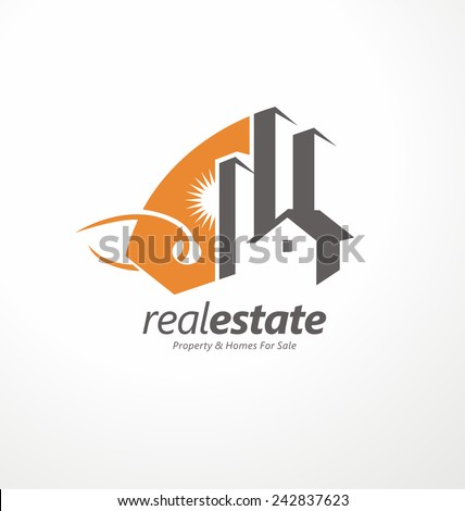 Creative symbol design for real estate company.  Abstract vector logo design template with price tag and buildings in negative space. Home icon idea. House silhouette. - stock vector