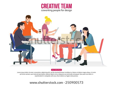 Creative Team Concept. Business meeting and Coworking people for your design.  Talking and working people at the table in the office. Flat design vector illustration with place for text. - stock vector