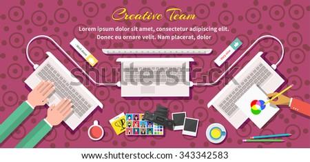 Creative team design flat style. Creative thinking, creative ideas, design team, business and computer, office management, corporate teamwork, technology illustration - stock vector