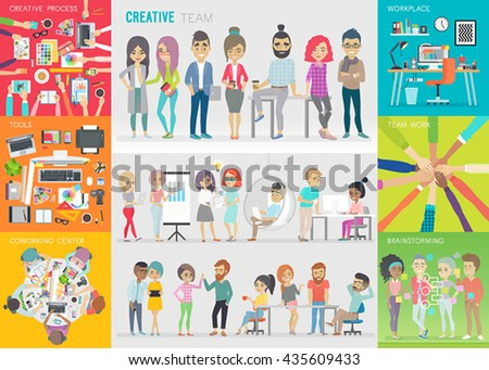 Creative team set. Vector illustration. - stock vector
