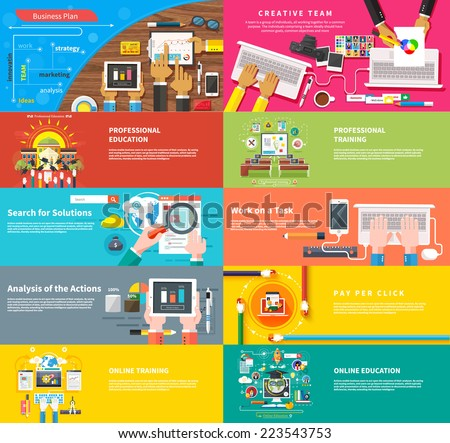 Creative team. Team working at desk. Business plan strategy with touchscreen presentation. Search for solutions. Businessman working on notebook with different task. Analysis actions. Pay per click - stock vector
