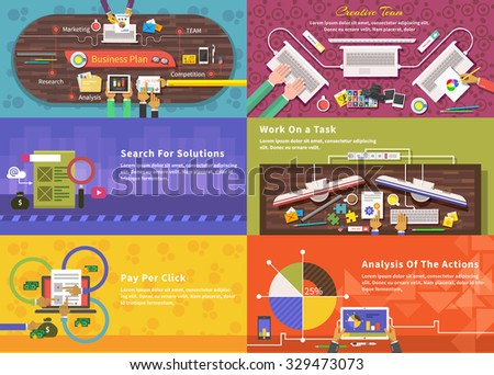 Creative team. Young design team working at desk. Business plan strategy. Search for solutions infographics. Businessman working on notebook with different task. Analysis actions. Pay per click - stock vector