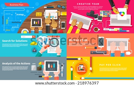 Creative team. Young design team working at desk. Business plan strategy touchscreen presentation. Search for solutions infographics. Businessman working on notebook. Analysis actions. Pay per click - stock vector