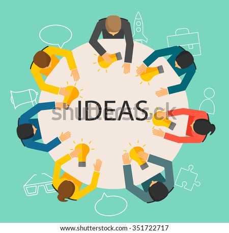 Creative teamwork concept. People sitting behind the table with light bulbs and line icons set, top view. Text Ideas. Vector illustration - stock vector