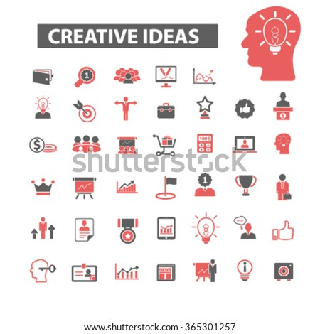 creative technology, ideas, creativity, positive thinking, interactive marketing, discovery, technology, information startup icons, signs vector concept set for mobile, website, application   - stock vector