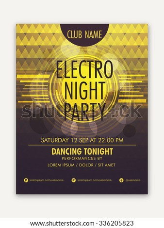 Creative Template, Banner or Flyer design on abstract shiny background for Night Party celebration. - stock vector