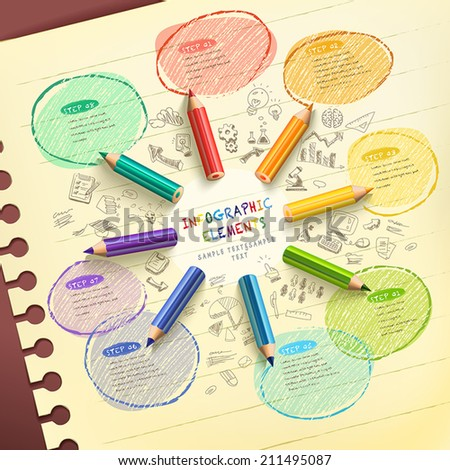 creative template infographic with colorful pencils drawing flow chart over hand drawn background - stock vector