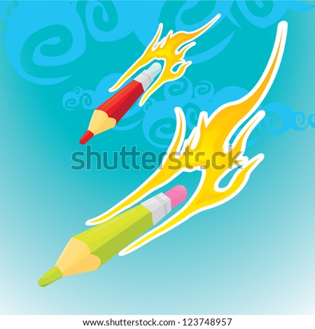 creative template with pencil and fire art concept vector illustration - stock vector