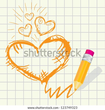 creative template with pencil and  hand drawn heart art concept vector illustration. valentines day card.  creative love concept - stock vector