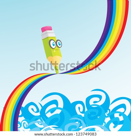 creative template with pencil and rainbow art concept vector illustration. - stock vector