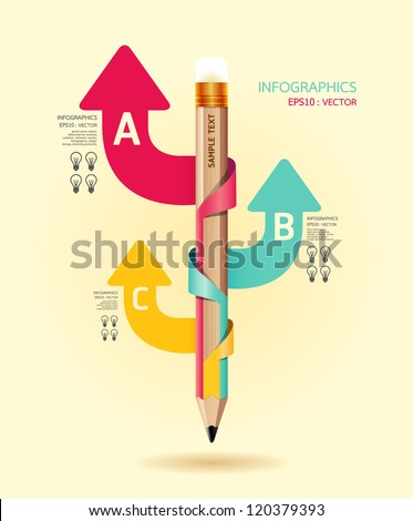 Creative Template with pencil ribbon arrow banner / can be used for infographics / banners / concept vector illustration - stock vector