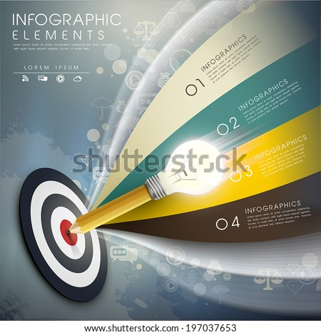 creative template with the accurate idea, can be used for infographics and banners or posters, concept vector illustration - stock vector