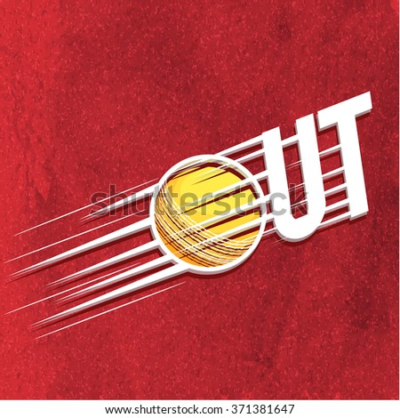 Creative text Out with Ball on stylish red background for Cricket Sports concept. - stock vector