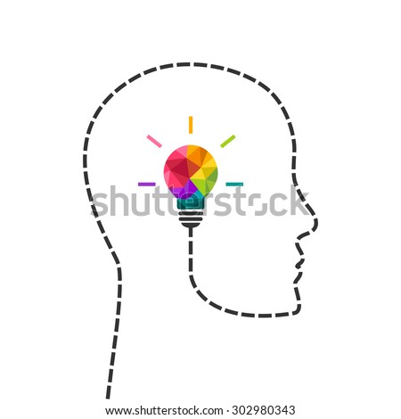 Creative thinking and learning concept with colorful lightbulb and human profile line. Vector eps10 illustration. - stock vector
