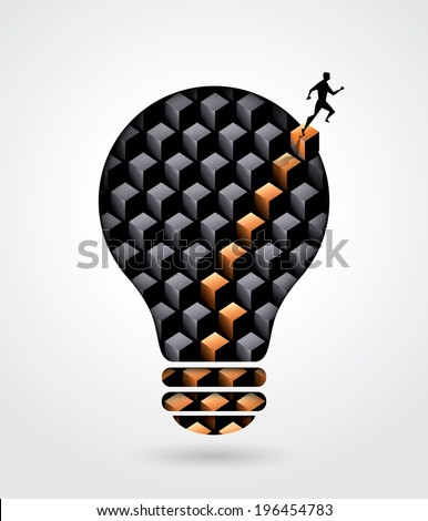 Creative thinking solution business idea concept illustration with a man walking out of light bulb  - stock vector