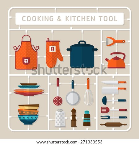 Creative thinking vector flat design model kits for cooking accessory and kitchen tools - stock vector