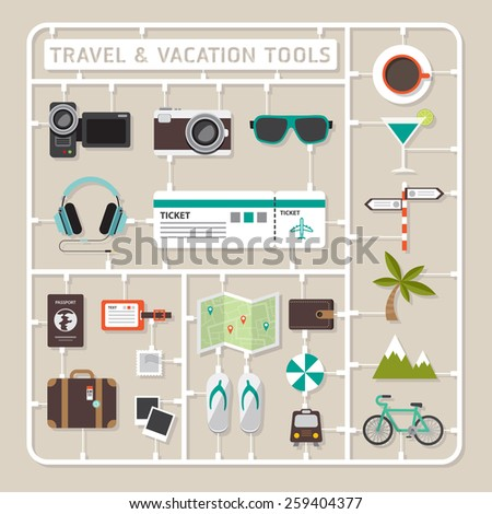 Creative thinking vector flat design model kits for travel and vacation tools. - stock vector
