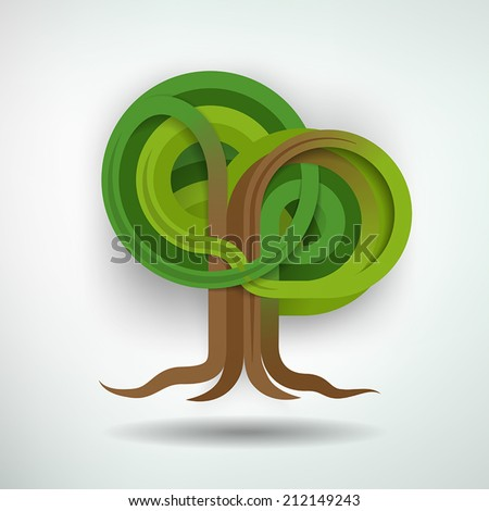 Creative Tree Concept. Tree made out of intertwining ribbons. Tree and background on separate layers. Fully scalable vector illustration. - stock vector