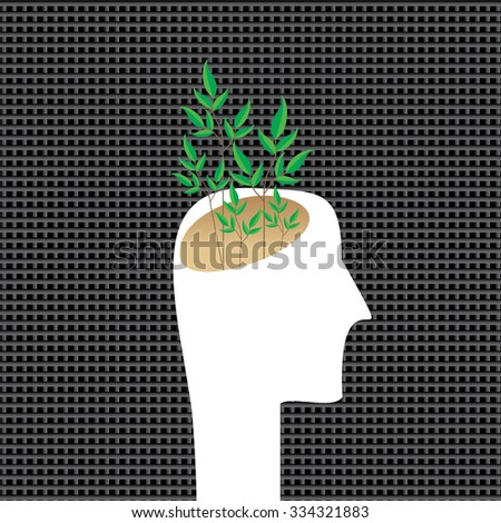 creative tree in human head vector  - stock vector