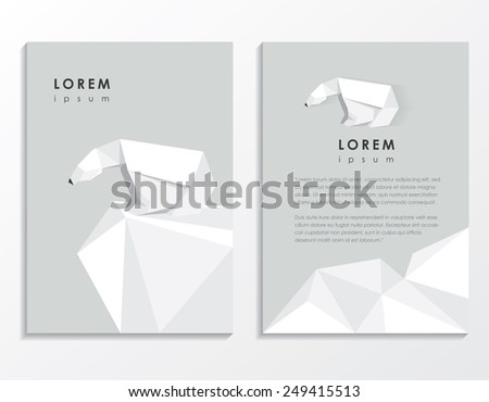 creative trendy low polygon style brochure template with polar bear vector illustration- modern triangular geometric design- arctic wildlife theme - stock vector