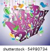 Creative type with birds wishing a happy new year 2011. - stock vector