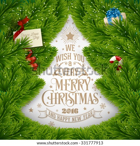 Creative Typographical Christmas Background With Christmas Branch Formed A Christmas Tree - stock vector