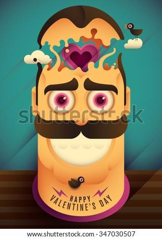 Creative Valentine's day illustration. Vector illustration. - stock vector