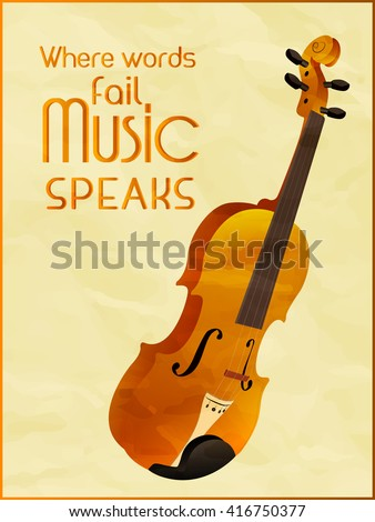 creative vector abstract for Music Background with nice and beautiful violin illustration in a textured yellow background. - stock vector