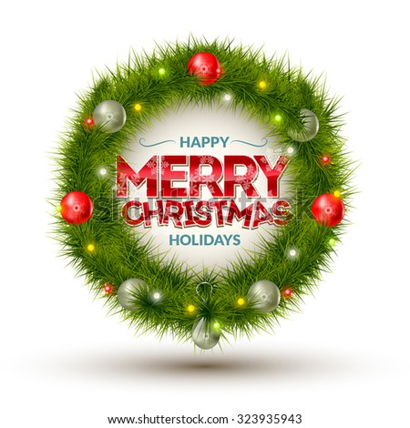 Creative vector banner made of fir branches for greeting card. Congratulation Merry Christmas. - stock vector