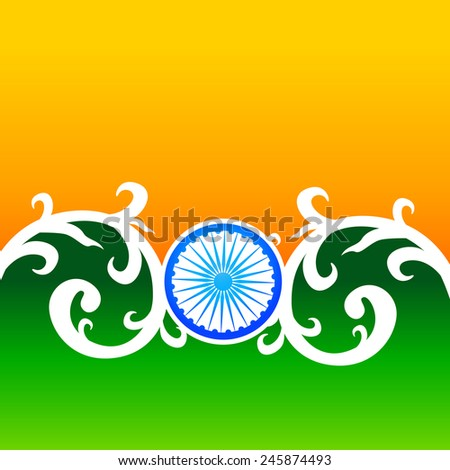 creative vector indian flag design with florals and wheel - stock vector