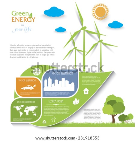 Creative vector Infographic design with wind turbines, green energy concept.  Modern template - stock vector