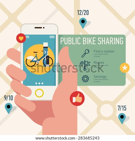 Creative vector modern flat design visual on using city public bike sharing system application on mobile device | Hand holding phone with bicycle sharing app  - stock vector