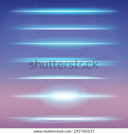 Creative vector set of glow light effect stars bursts with sparkles isolated on black background. For illustration template art design, magic flash energy ray. - stock vector