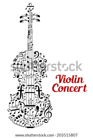 Creative vector Violin Concert poster design with the shape of a violin composed of music notes and clefs in a random scattered pattern in a text cloud and the text - Violin Concert - alongside - stock vector