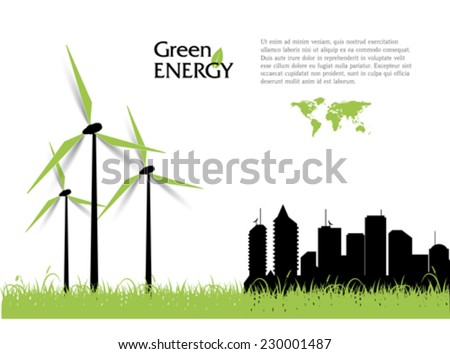 Creative vector with wind turbines, green energy concept. - stock vector