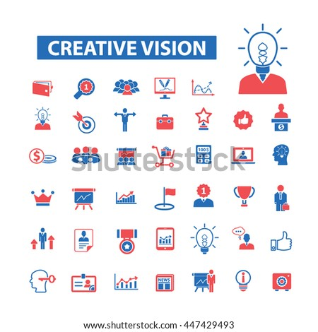 Creative vision icons: marketing, strategy, advertising, business, management, idea, creator, campaign, plan, media, development, brainstorm, affilate, design, research, consumer. Vector illustration - stock vector
