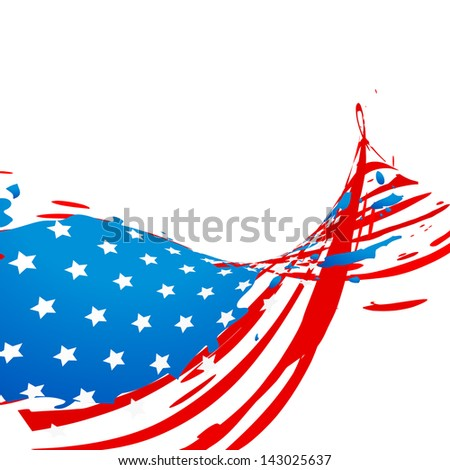 creative wave style american flag design - stock vector
