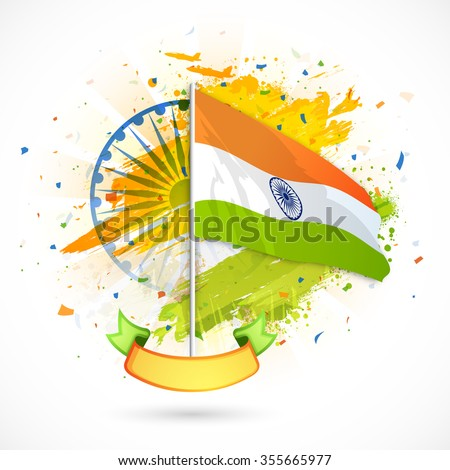 Creative waving Indian National Flag with blank ribbon on Ashoka Wheel decorated background for Happy Republic Day celebration. - stock vector