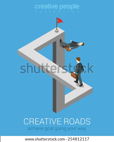 Creative ways to achieve goal flat 3d web isometric infographic business concept vector. Impossible fairy maze fable nonexistent crossing roads optical illusion. Creative people collection. - stock vector