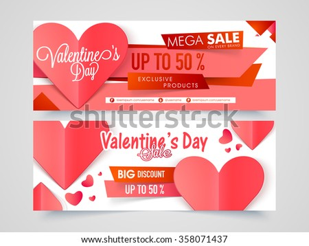 Creative website header or banner set of Mega Sale with 50% Discount Offer for Happy Valentine's Day celebration. - stock vector
