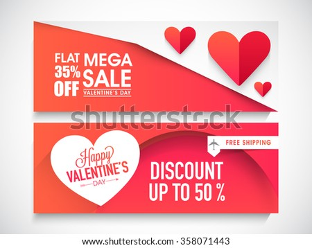 Creative website header or banner set of Mega Sale with Flat Discount Offer for Happy Valentine's Day celebration. - stock vector