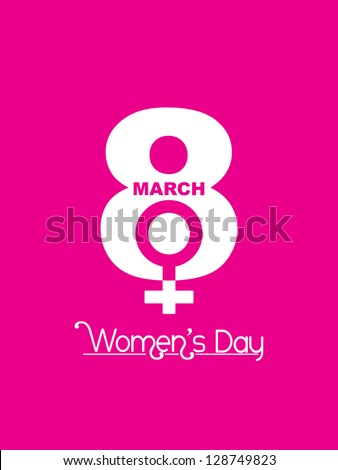Creative white color design element for women's day on pink color background. - stock vector
