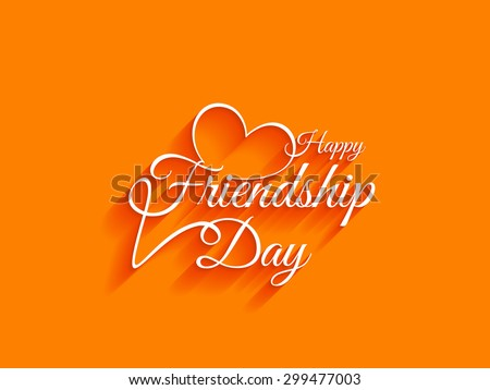 Creative white color happy friendship day text design element on bright background. - stock vector