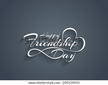 Creative white color happy friendship day text design element. vector illustration  - stock vector