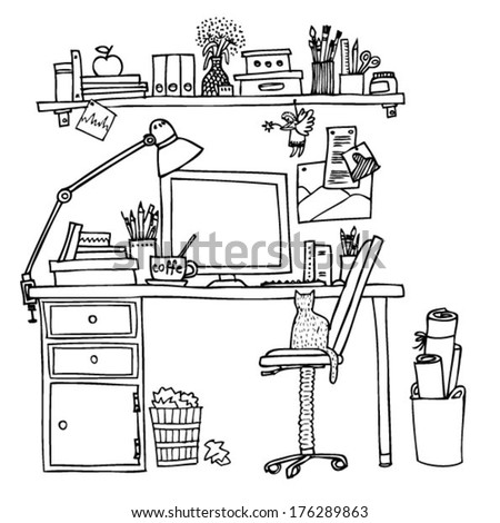 creative workplace - stock vector